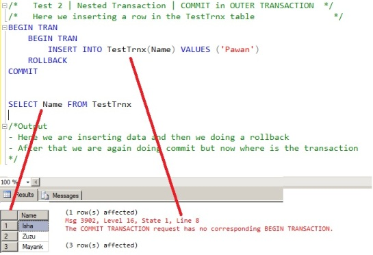Case 2 - Nested Transaction - Commit in Outer Transaction